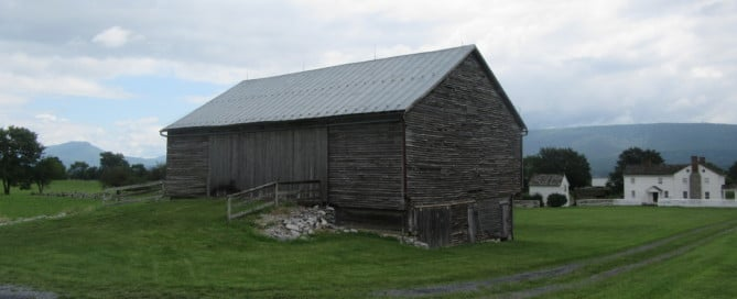The barn of Jacob Bushong with the rest of Bushong Hill behind it