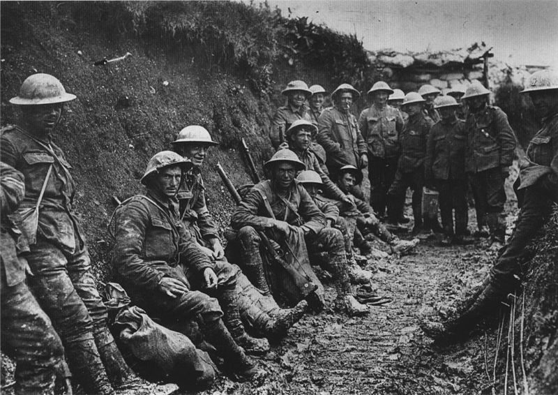 Royal Irish Rifles in a communications trench, first day on the Somme, 1916