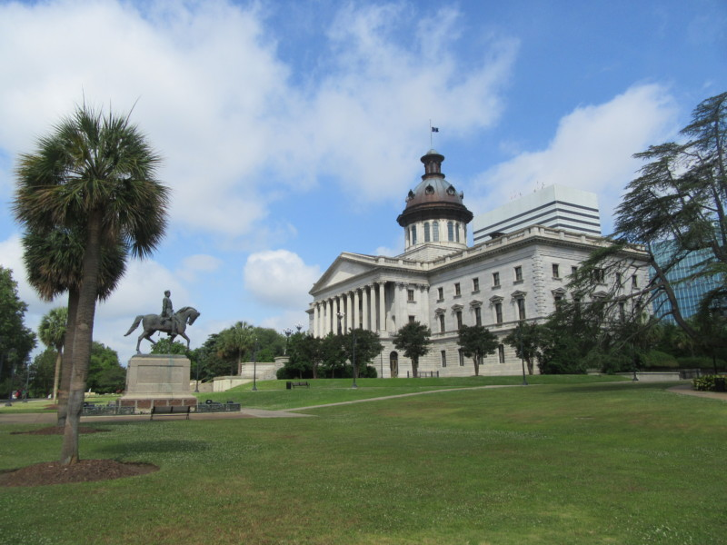 SC State House with Palmetto trees