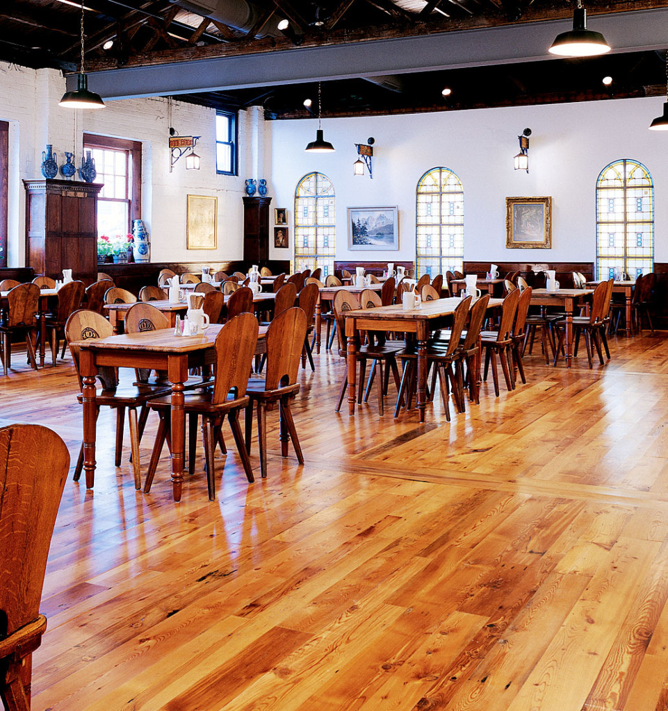 reclaimed yellow pine distressed hofbrauhaus hall - Distressed Pine Flooring