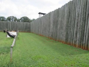 Inside the reconstructed stockade at Andersonville